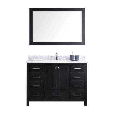 Caroline Avenue 48 in. W x 22 in. D x 33.46 in. H Zebra Grey Vanity with Marble Vanity Top with White Basin and Mirror