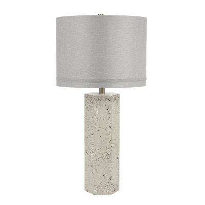 32.5 in. Speckled Gray Terrazzo Contemporary Column Table Lamp and LED Bulb