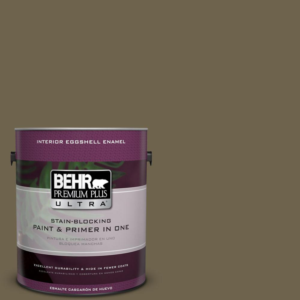 BEHR Premium Plus Ultra Home Decorators Collection 1 gal. #HDC-AC-15 Peat Eggshell Enamel Interior Paint and Primer in One