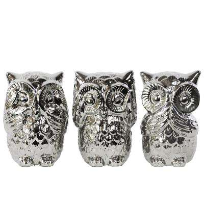 5.25 in. H Owl Decorative Figurine in Gray Polished Chrome Finish