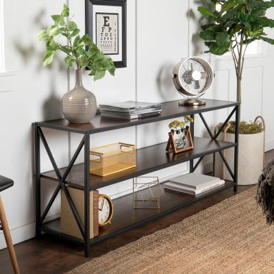26 in. Dark Walnut/Black Metal 3-shelf Etagere Bookcase with Open Back