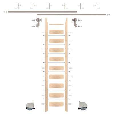 10 ft. Red Oak Ladder (11 ft. Reach) Satin Nickel Contemporary Rolling Hook Hardware 12 ft. Rail and Vertical Brackets