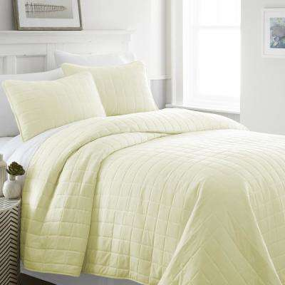 Square Yellow Twin Performance Quilted Coverlet Set