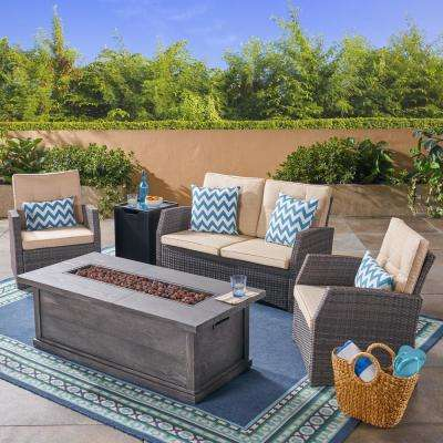 Sanger Gray 5-Piece Wicker Patio Fire Pit Conversation Set with Beige Cushions