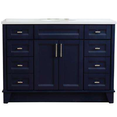 49 in. W x 22 in. D Single Bath Vanity in Blue with Quartz Vanity Top in White with White Oval Basin