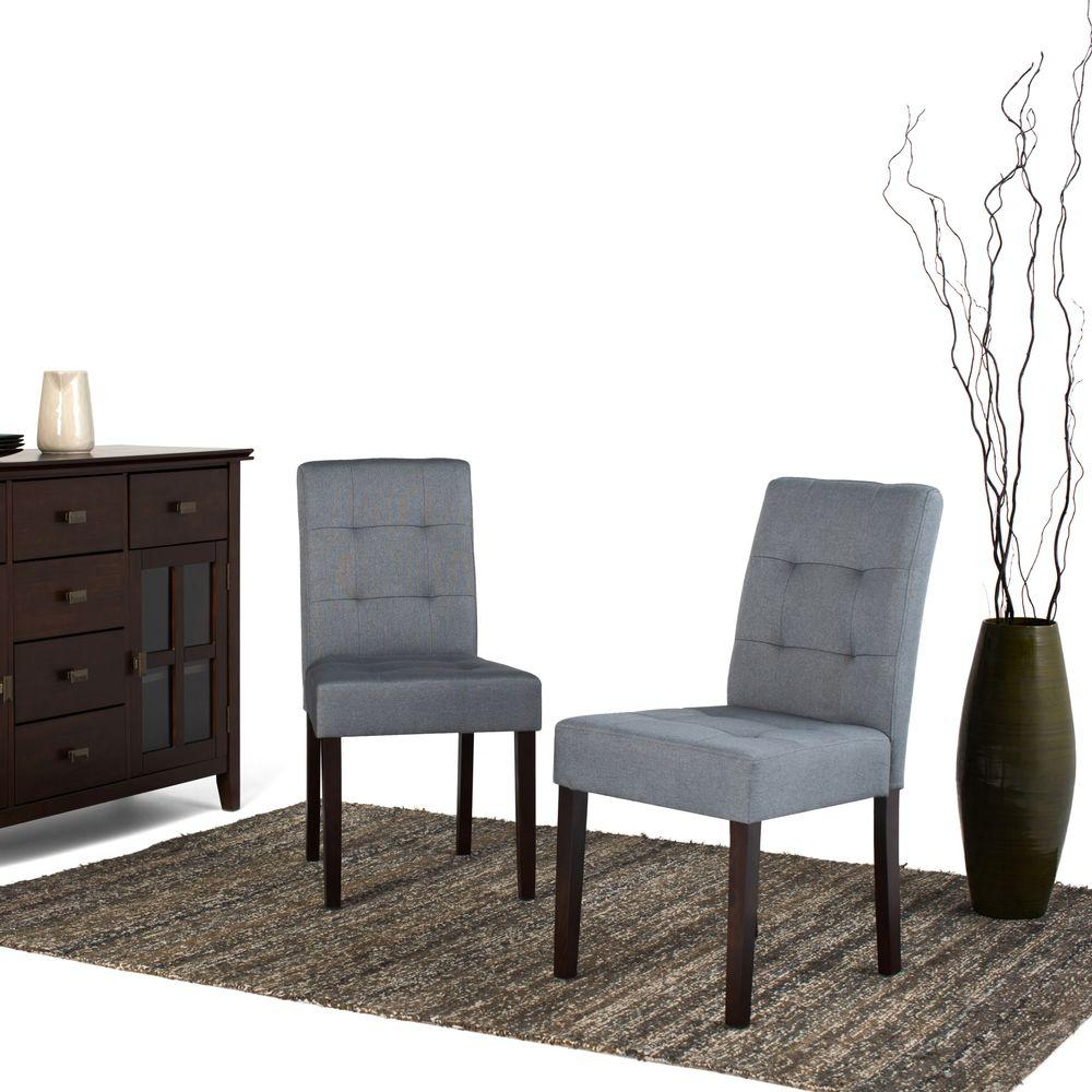 Simpli Home Andover Denim Grey Fabric Dining Chair (Set Of 2)