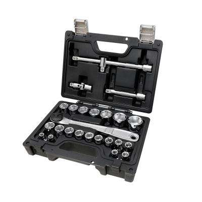 1/2 in. Drive Metric Socket Set with Ratchet (25-Piece)