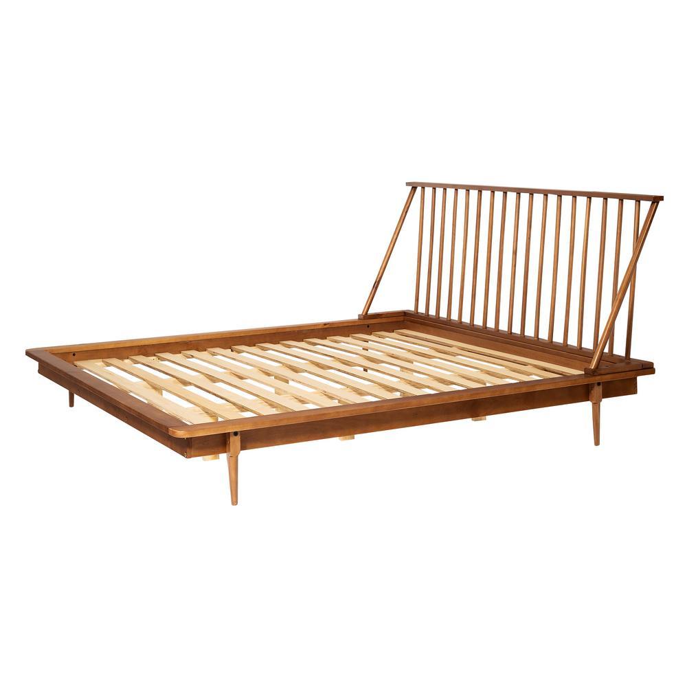 Solid Wood Modern Caramel King Spindle Bed