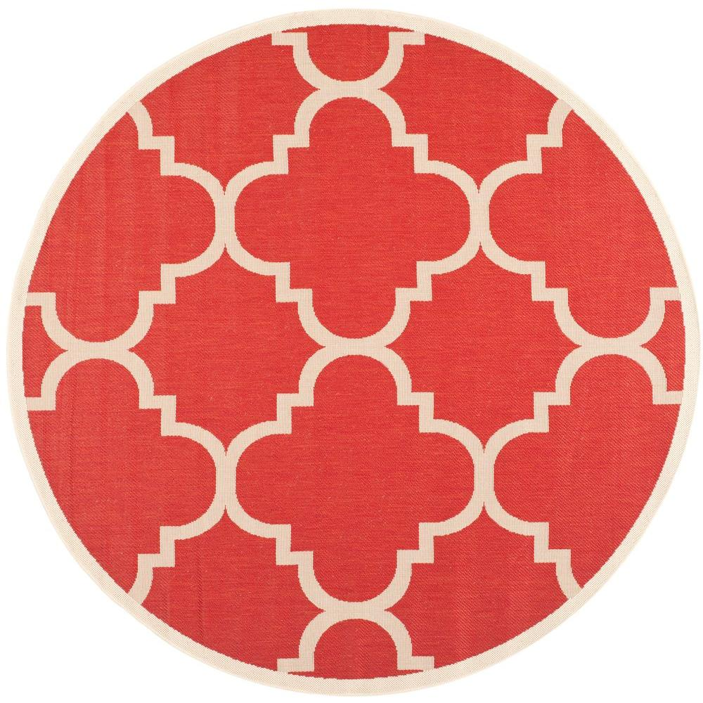 Courtyard Red 8 ft. x 8 ft. Indoor/Outdoor Round Area Rug