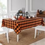 Farmhouse Living Fall Buffalo Check 70 in. Round Black/Orange Tablecloth