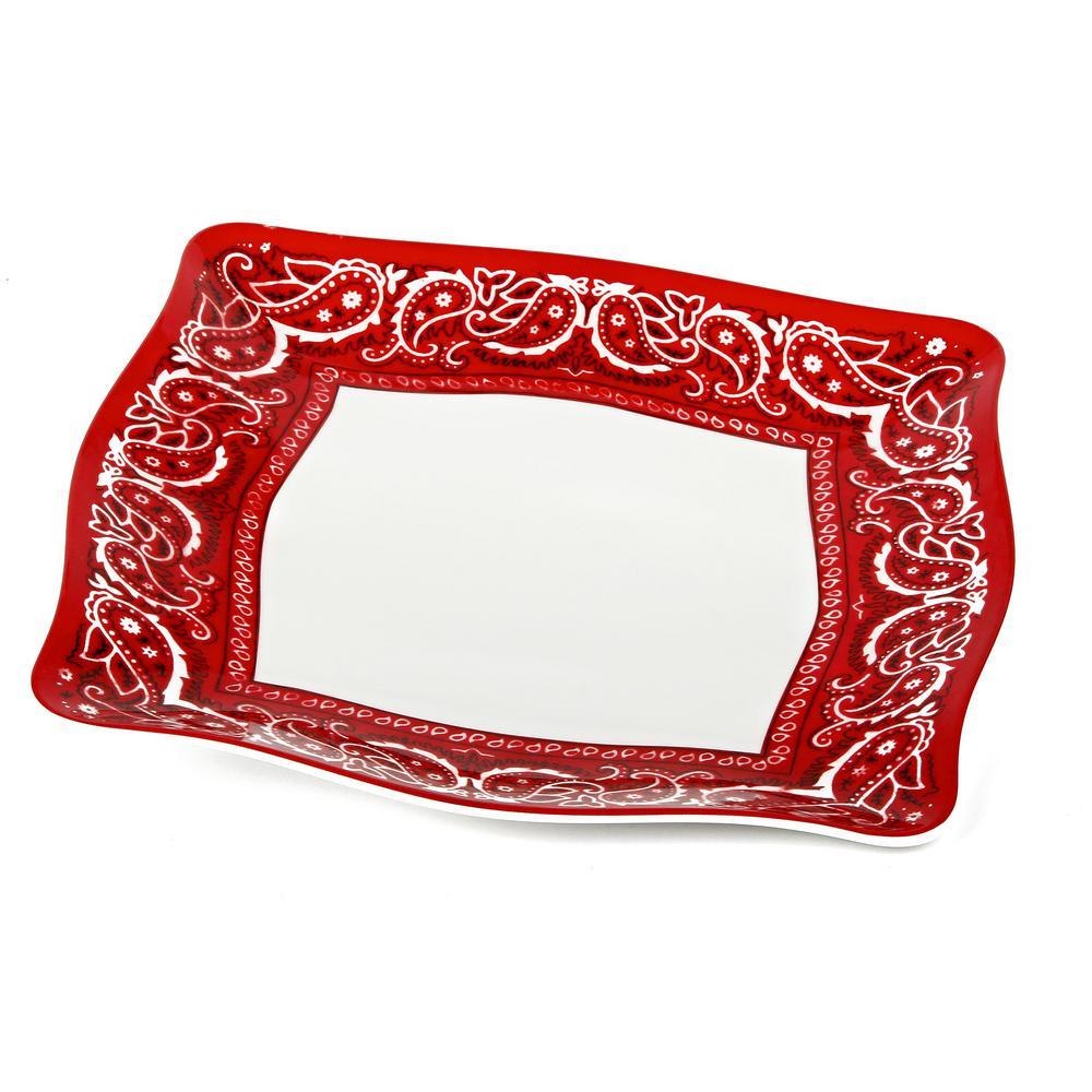 Bandana Red/White Dinner Plate (Set of 4)