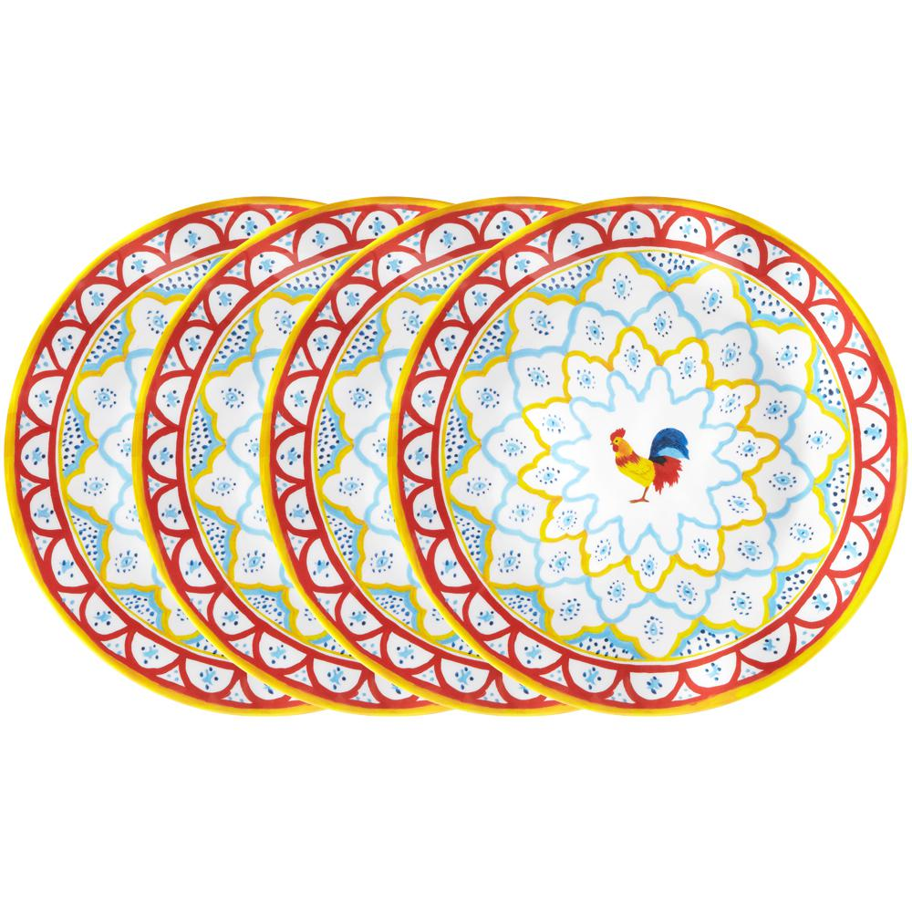 Porto Chal 4-Piece Assorted Colors Melamine Dinner Plate Set