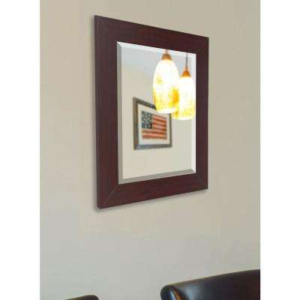 37.5 in. x 33.5 in. Dark Mahogany Beveled Vanity Wall Mirror