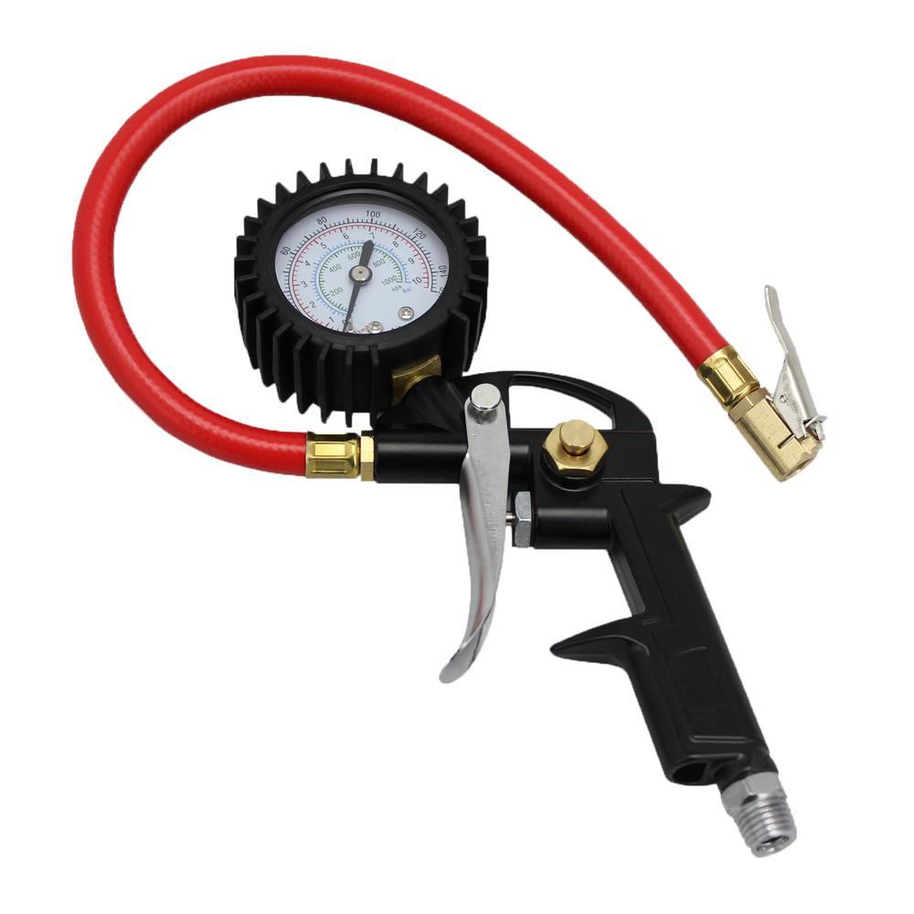 Analog Pistol Grip Tire Inflator/Deflator Gauge with 13 in. Air Hose