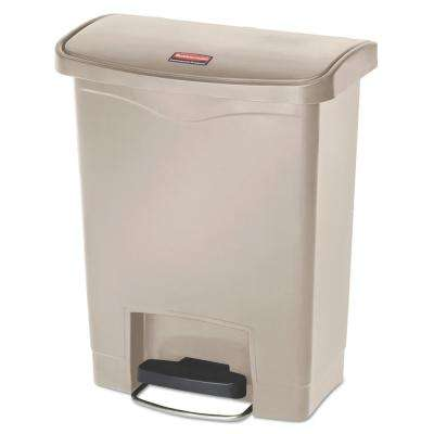 Slim Jim 8 Gal. FS Resin Step On Beige Wastebasket