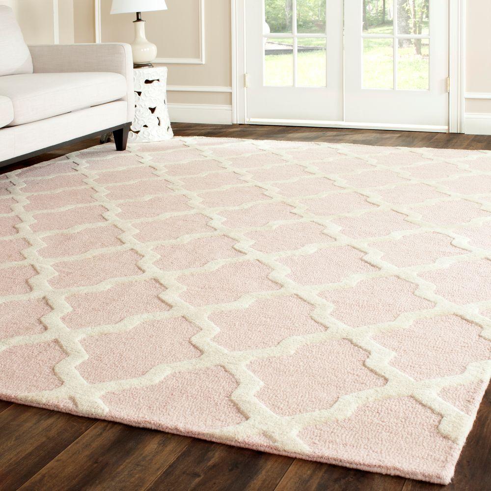 safavieh cambridge light pink/ivory 8 ft. x 8 ft. square area rug