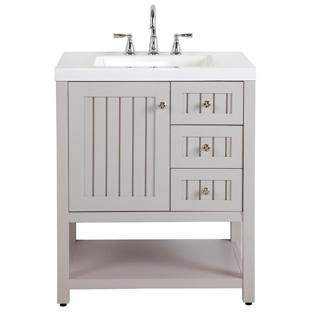 Martha Stewart Living Seal Harbor 30 in. W Bath Vanity in Sharkey Gray with Cultured Marble Vanity Top in White and MOEN Faucet