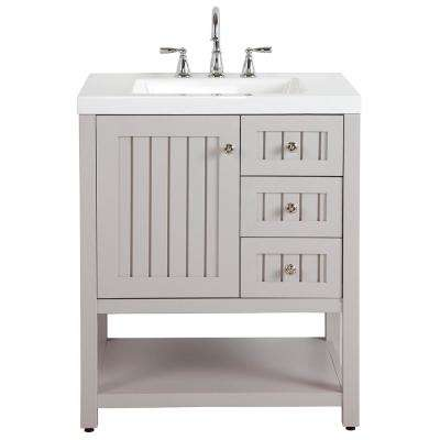 Seal Harbor 30 In W Bath Vanity In Sharkey Gray With Cultured Marble Vanity Top In White And MOEN Faucet
