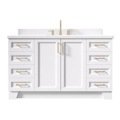 Taylor 61 in. W x 22 in. D Bath Vanity in White with Quartz Vanity Top in White with White Basin