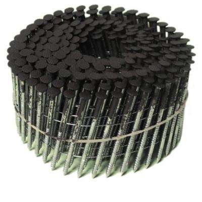 6d 2 in. 15 Wire Coil, Painted Full Round Head, Ring-Shank Nail in Dark Brown (3,600-Pack)