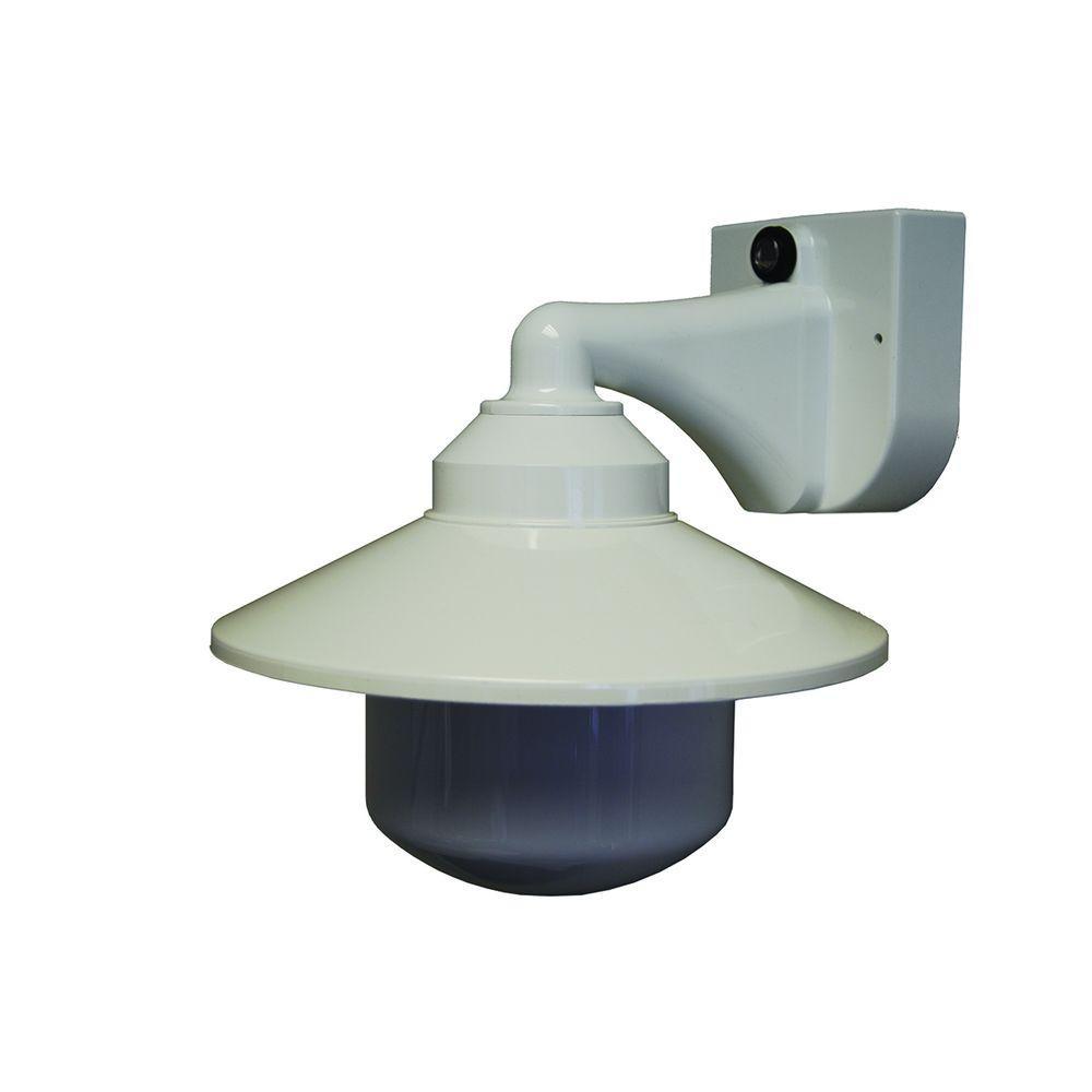 1-Light White Outdoor Incandescent Long Neck Wall Bracket Fixture with Dusk/Dawn Sensor