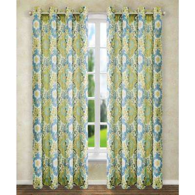 Tuscany 50 in. W x 63 in. L Polyester Lined Grommet Panel in Blue