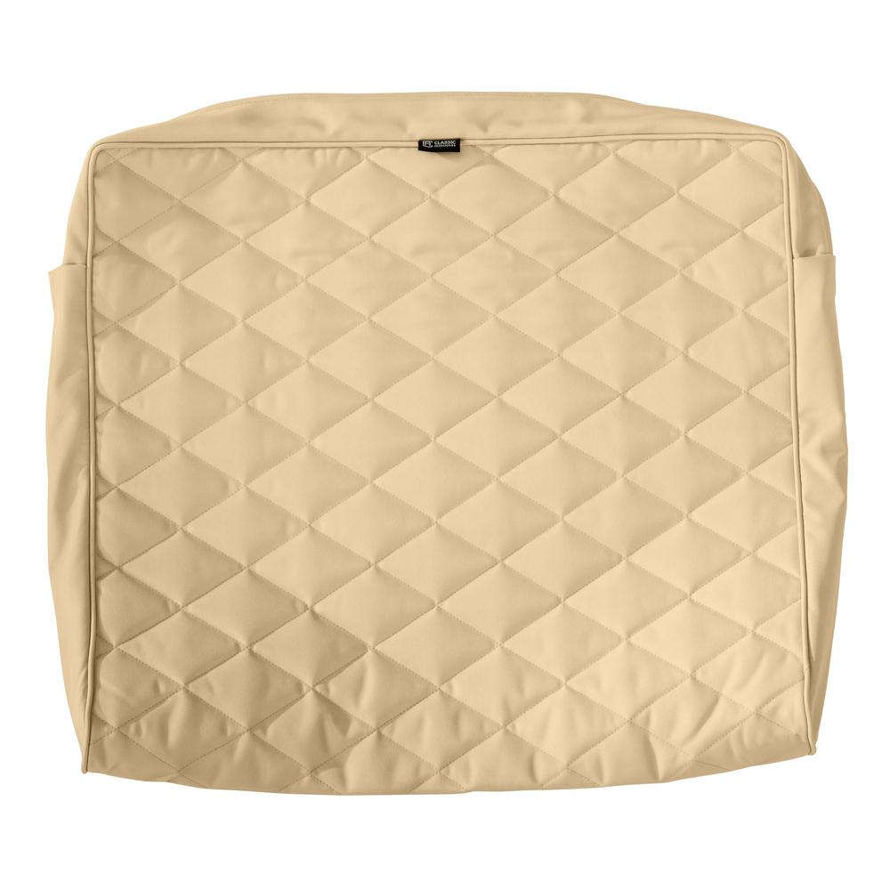 Classic Accessories Montlake Fadesafe 21 In W X 20 In H X 4 In T Chamomile Quilted Wide Back Lounge Cushion Slipcover