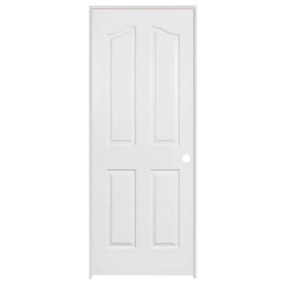 Steves & Sons 36 in. x 80 in. 4-Panel Archtop Textured Primed White Evolution Solid Core Single Prehung Interior Door