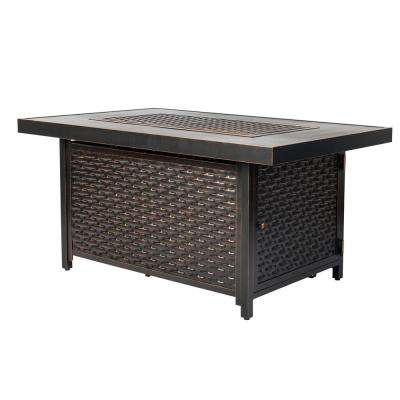 Baker 48 in. x 24 in. Rectangle Aluminum Propane Fire Pit Table in Antique Bronze