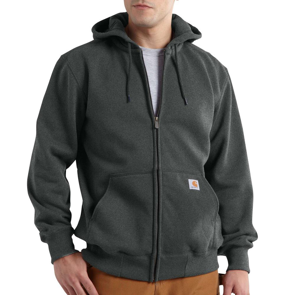 Carhartt Men's 4X Large Carbon Heather Cotton/Polyester Rain Defender Paxton Heavyweight Hooded Zip-Front Sweatshirt