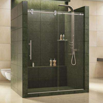 Enigma 56 in. to 60 in. x 79 in. Frameless Sliding Shower Door in Brushed Stainless Steel and 1/2 in. Exclusive Glass