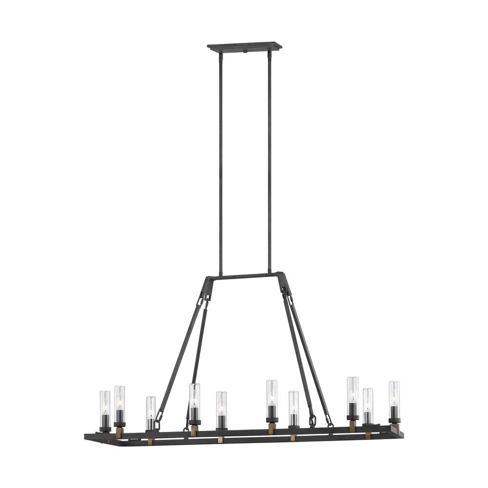 Landen Antique Forged Iron 10-Light Outdoor Hanging Chandelier