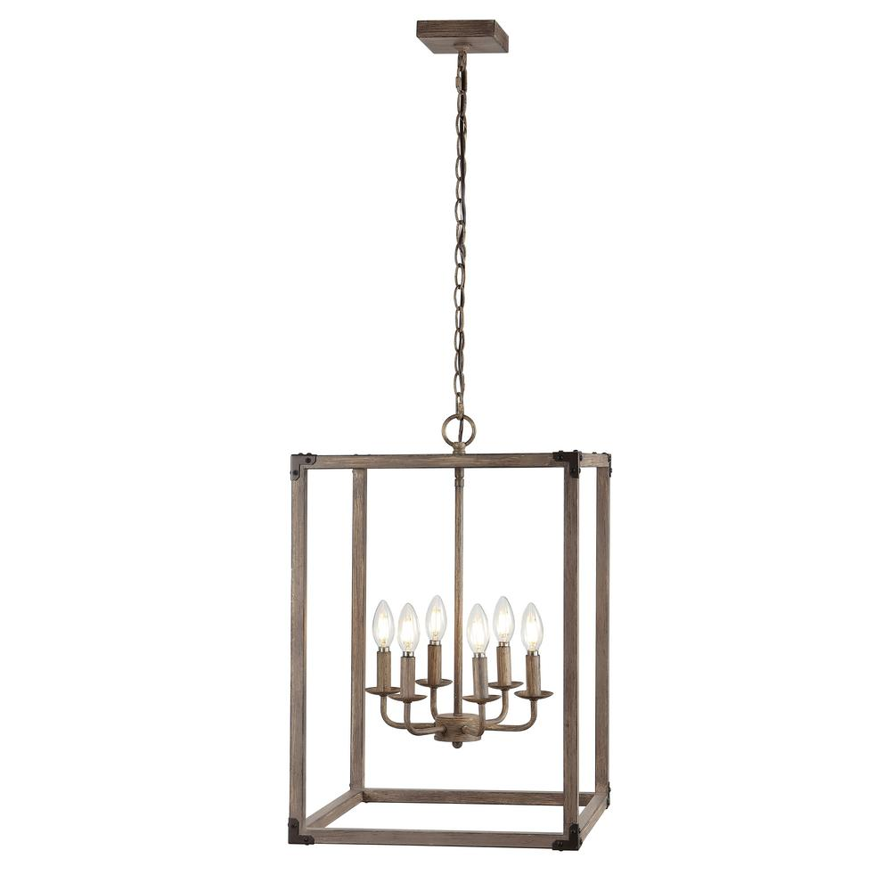 Magnolia 16.2 in. 6-Light Oil Rubbed Bronze/Brown Adjustable Iron Rustic Farmhouse LED Pendant