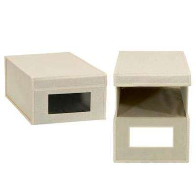 1-Pair Large Cream Linen Shoe Box with Drop Front Vision Box (2-Pack)