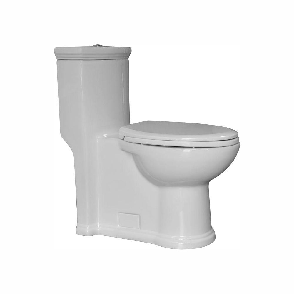 Magic Flush 1-piece 1.3/.09 GPM Dual Flush Elongated Toilet in White