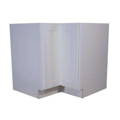 Brookings Fully Assembled 36x34.5x24 in. Corner Base Cabinet with Double Doors and 2 Shelf Lazy Susan in White