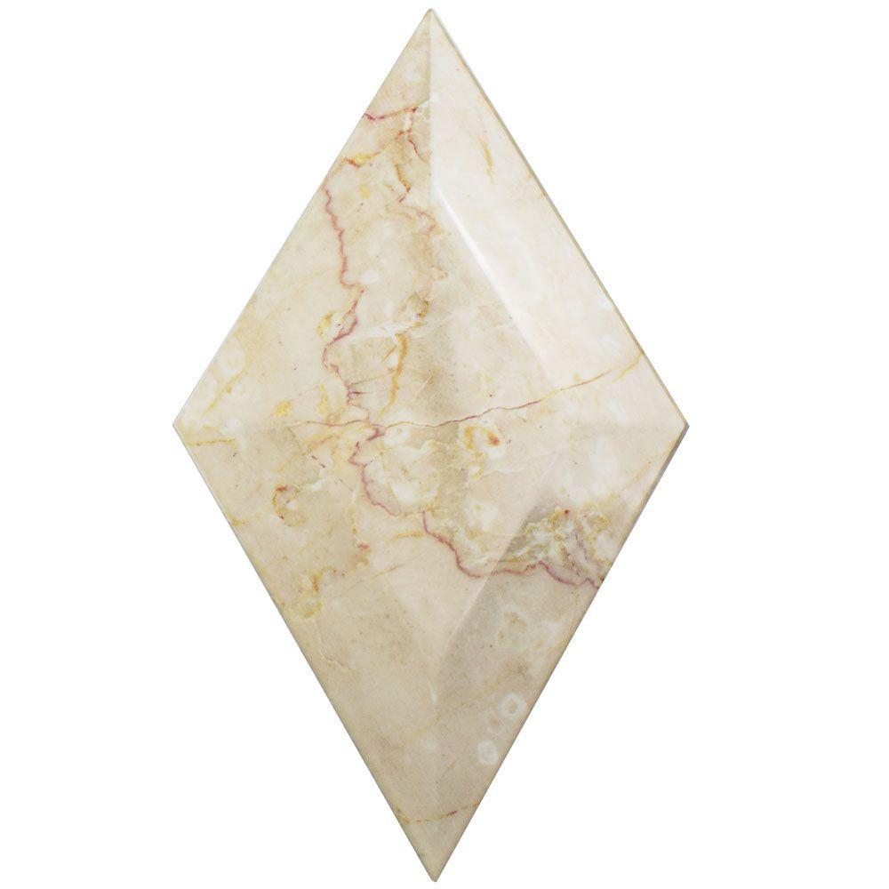 Merola Tile Aurea Beveled Beige 6-3/4 in. x 11-3/4 in. Ceramic Wall Tile (3.48 sq. ft. / case)