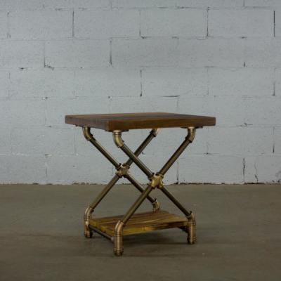 Brushed Brass Industrial Pipe 2-Tier X Style Base End Table or Nightstand Reclaimed Aged Wood