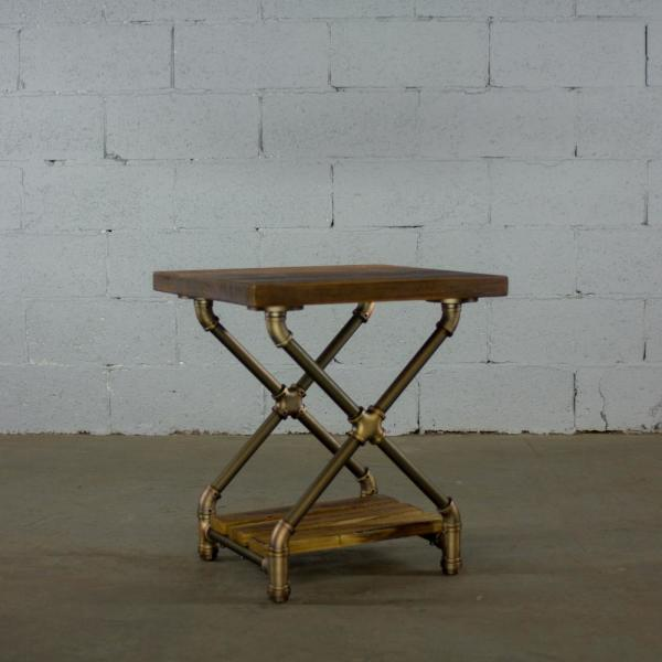 Os Home And Office Furniture Brushed Brass Industrial Pipe 2 Tier X