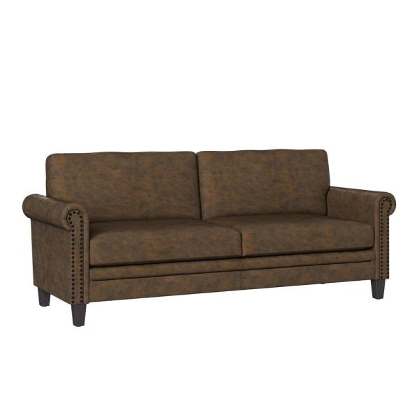 Distressed Saddle Brown Faux Leather