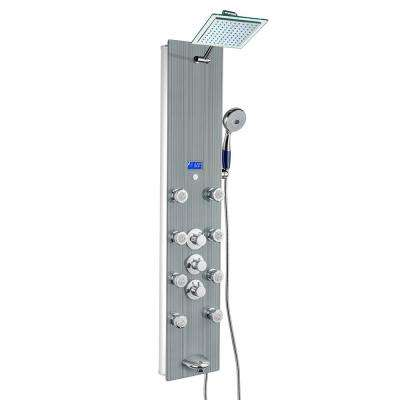 52 in. 8-Jet Shower Panel System in Tempered Glass with Thermostatic Controls, Rainfall Shower Head and Hand Shower Wand