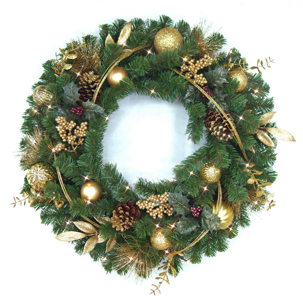 HomeAccentsHoliday Home Accents Holiday Laurel Villa 32 in. Pre-Lit LED Artificial Christmas Wreath