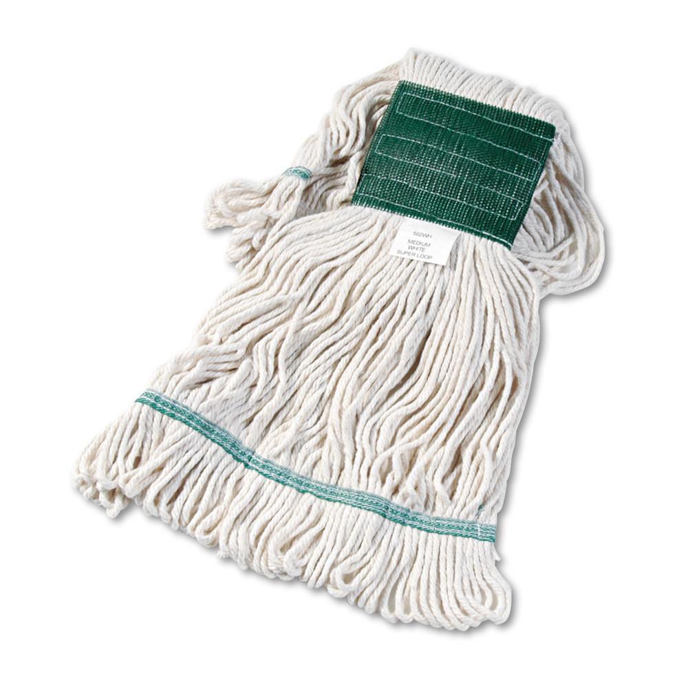Super Loop Wet Mop Head, Cotton/Synthetic, Medium Size, White, 12/Carton