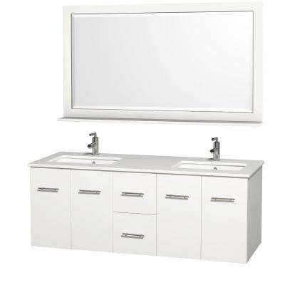 Centra 60 in. Double Vanity in White with Man-Made Stone Vanity Top in White and Square Porcelain Undermounted Sinks