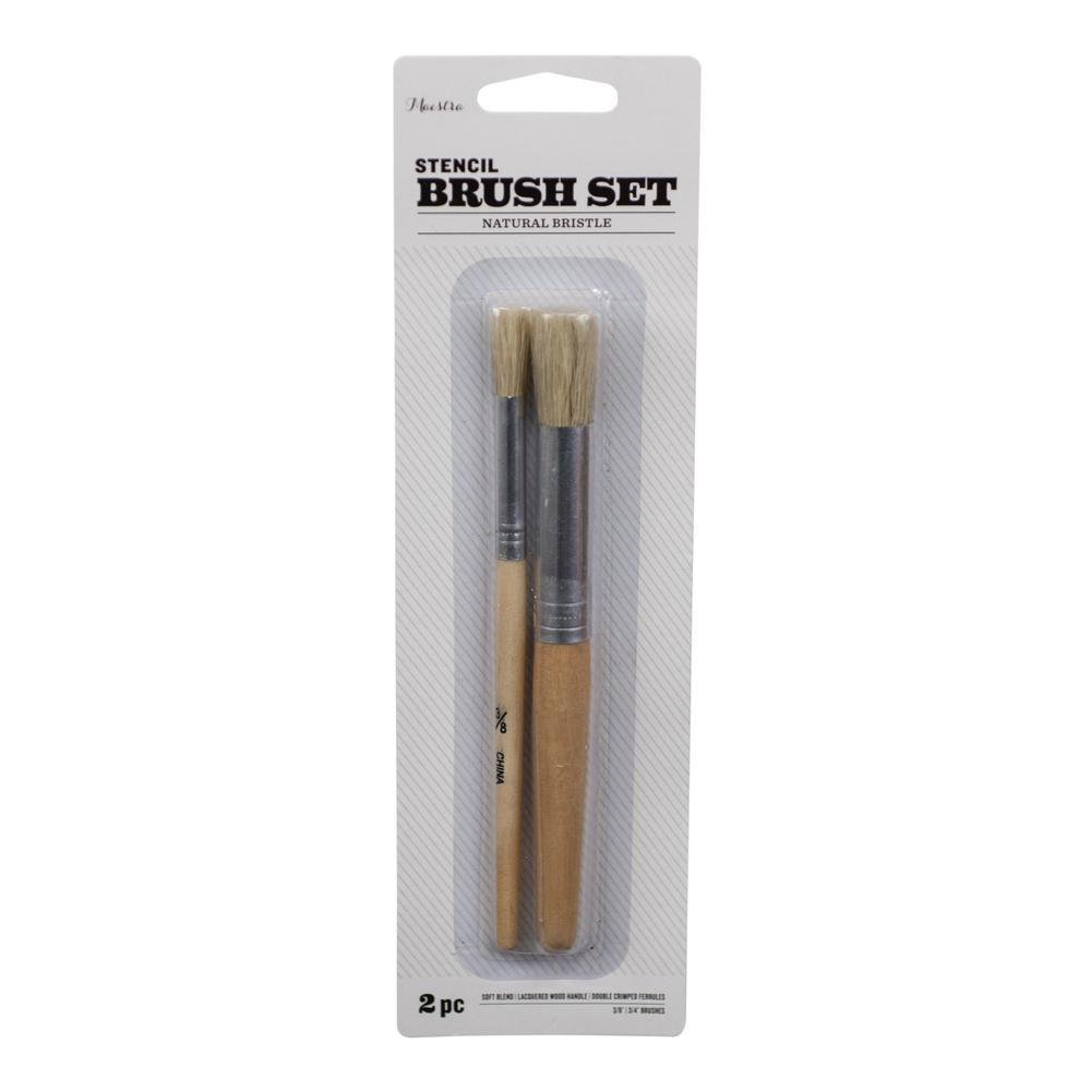 3/8 in. and 3/4 in. Stencil Brush Set (2-Piece)