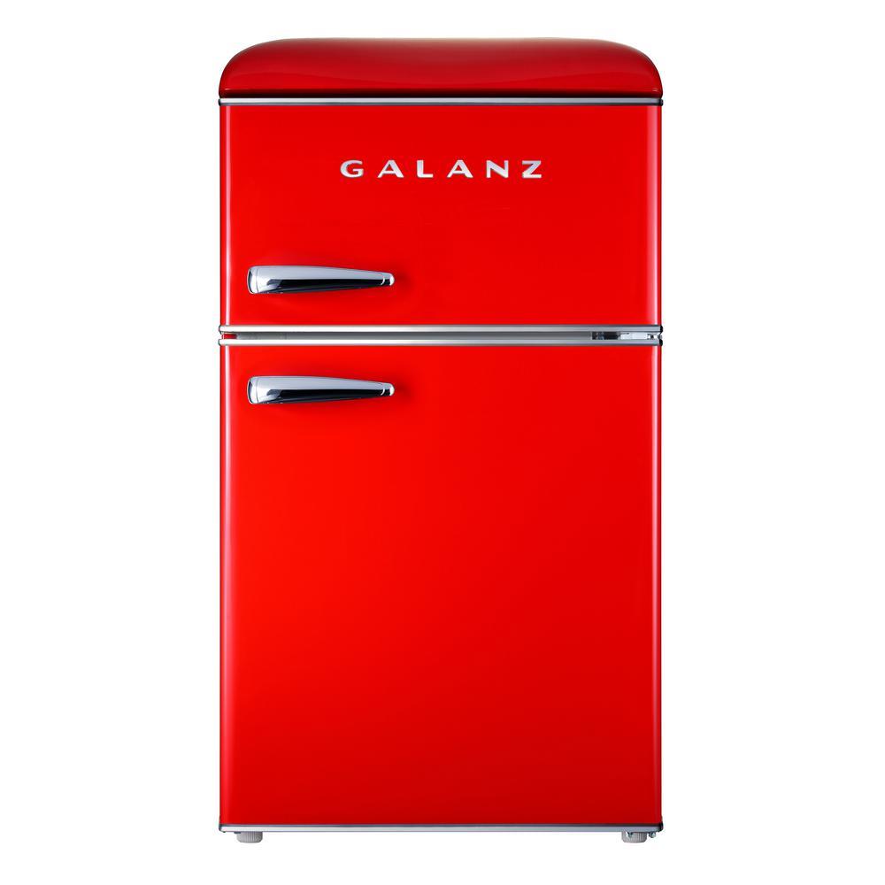 3.1 cu. ft. Retro Mini Fridge with Dual Door True Freezer in Red
