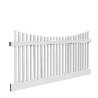 Yukon Scallop 4 ft. H x 8 ft. W White Vinyl Un-Assembled Fence Panel