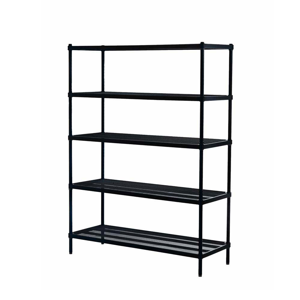 MeshWorks 5-Shelf Metal Black Freestanding Shelving Unit