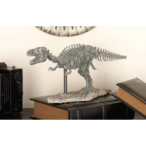 7 inch x 18 inch Decorative Gray Dinosaur Skeleton Sculpture in Colored Polystone by