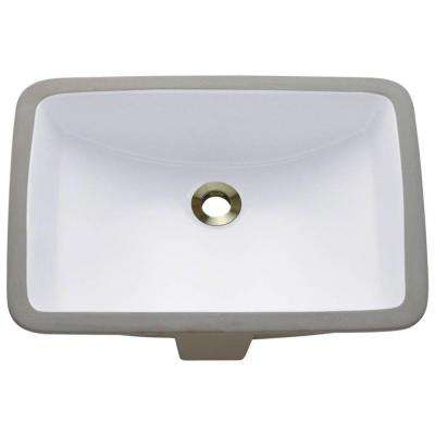 Undermount Porcelain Bathroom Sink in White